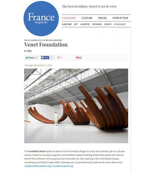 Bernar Venet - France Magazine (juillet 2014)