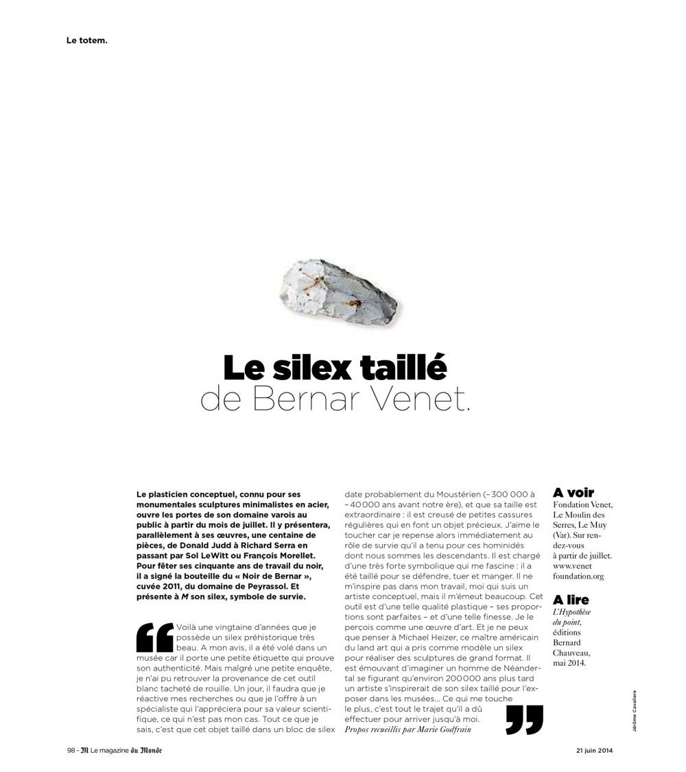Bernar Venet, L'Hypothèse du point - M, le magazine du monde (29.06.14)