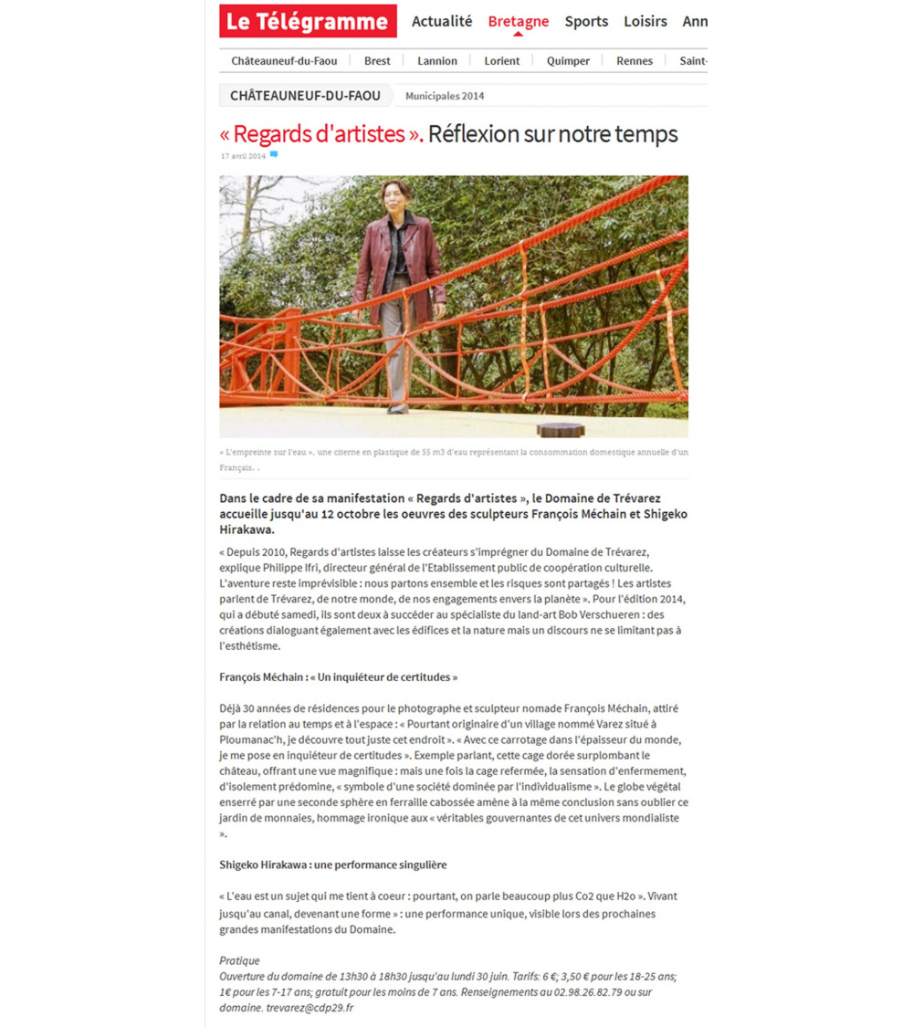 Regard d'artiste - Le Telegramme (17.04.14)
