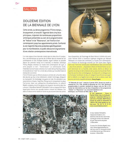 Mémoire des murs - Objet d'art (octobre 2013)