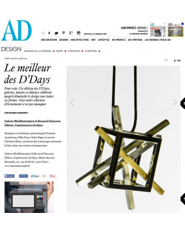Bijoux d'artistes aux Arts décoratifs de Paris - AD Magazine (juin 2015)