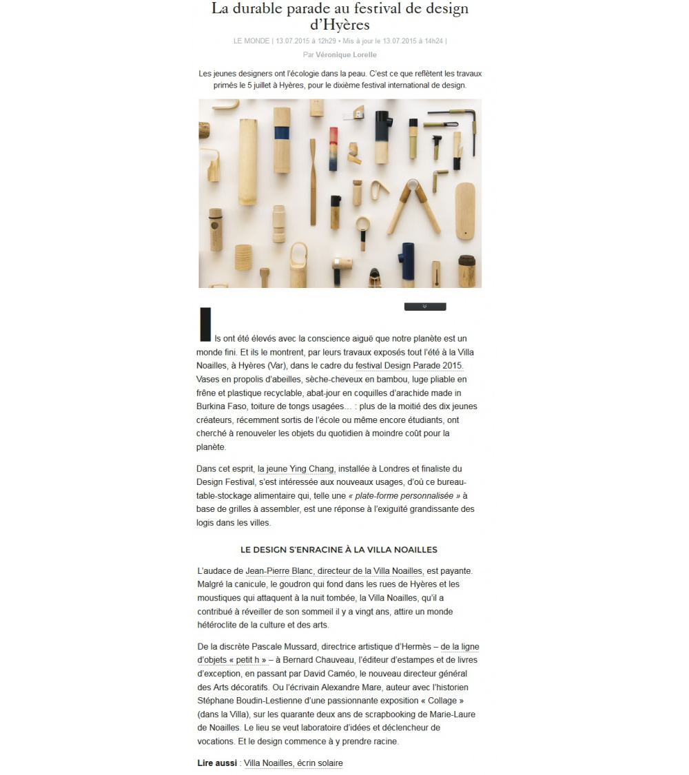 Festival du design - Le Monde