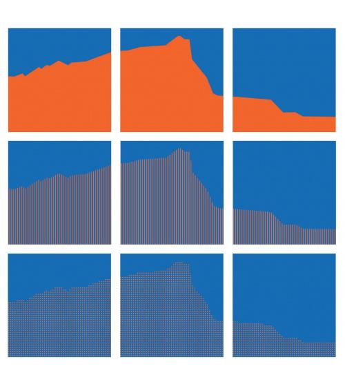 Vera Molnar - Sainte-Victoire Interchangeables (Orange & Bleu)