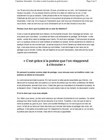 Fragments dans le Figaro littéraire